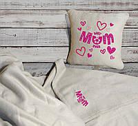 """Набор: подушка + плед """"Best mom ever"""" 07 цвет на выбор, фото 1"""