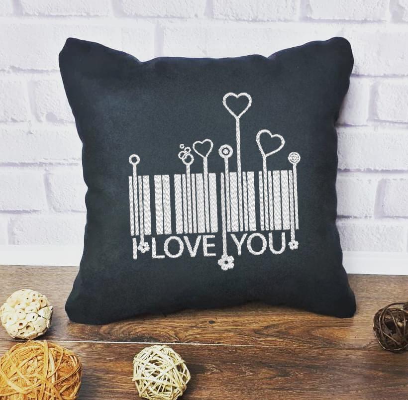 """Подушка для Влюбленных """"Штрих код  i love you"""" № ПВл 97"""