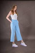 Кюллоты брюки женские летние голубого цвета