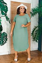 Летнее легкое повседневное платье миди ткань жатка Батал