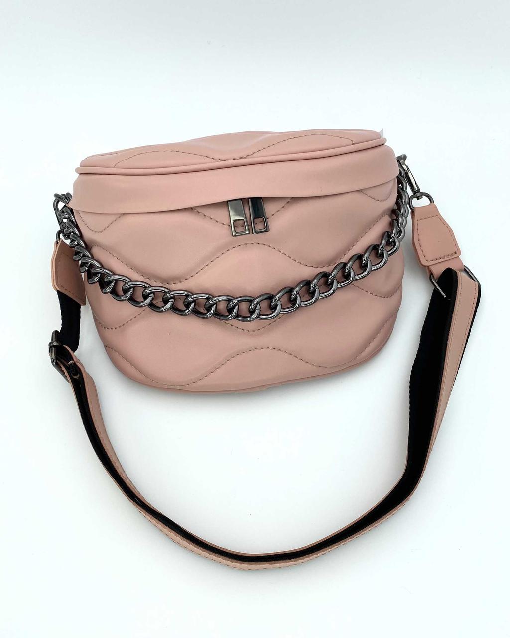 Розовая летняя женская сумочка полукруглая