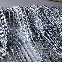 Нитки штори на кухню з люрексом 300x280 cm Сіро-білий (NL-311), фото 9