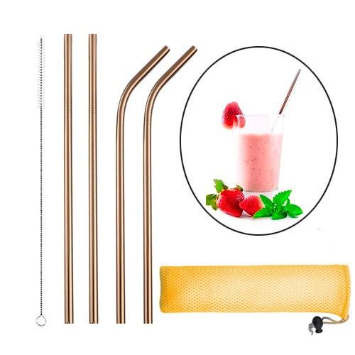 Набір з 4 металевих еко соломинок трубочок для напоїв, рожеве золото, 103283