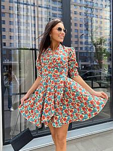 Женское платье с пышной юбкой с цветочным принтом 42-46 р