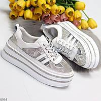 Эффектные сверкающие белые кроссовки кеды крипперы натуральная кожа + стразы