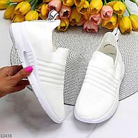 Легкие удобные текстильные тканевые белые женские кроссовки на каждый день
