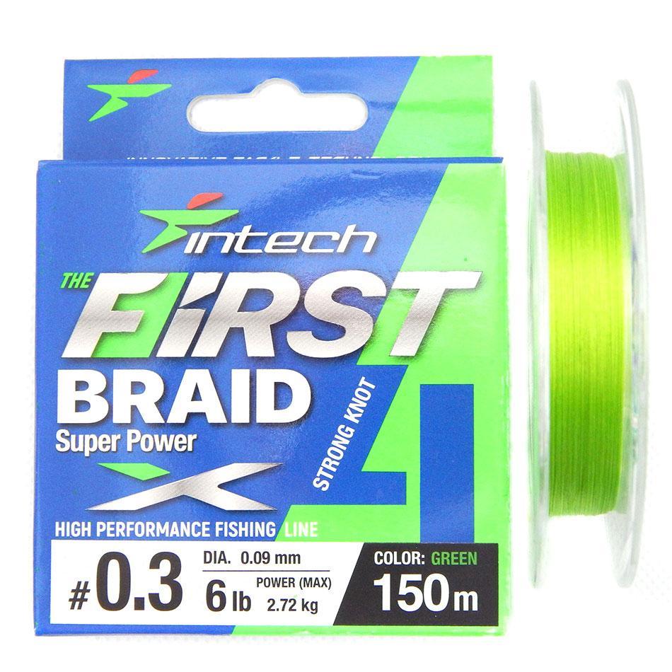 Шнур плетений Intech First Braid X4 Green 150m 0.6 (10lb/4.54kg)