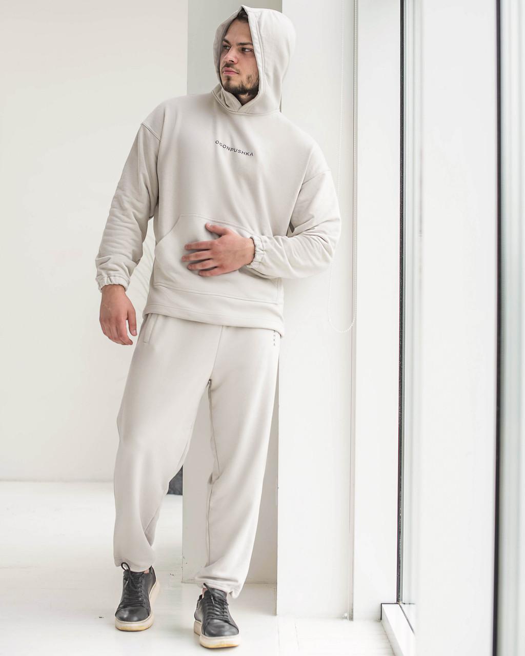 Спортивний костюм оверсайз Огонь Пушка Scale 2.0 бежево-сірий