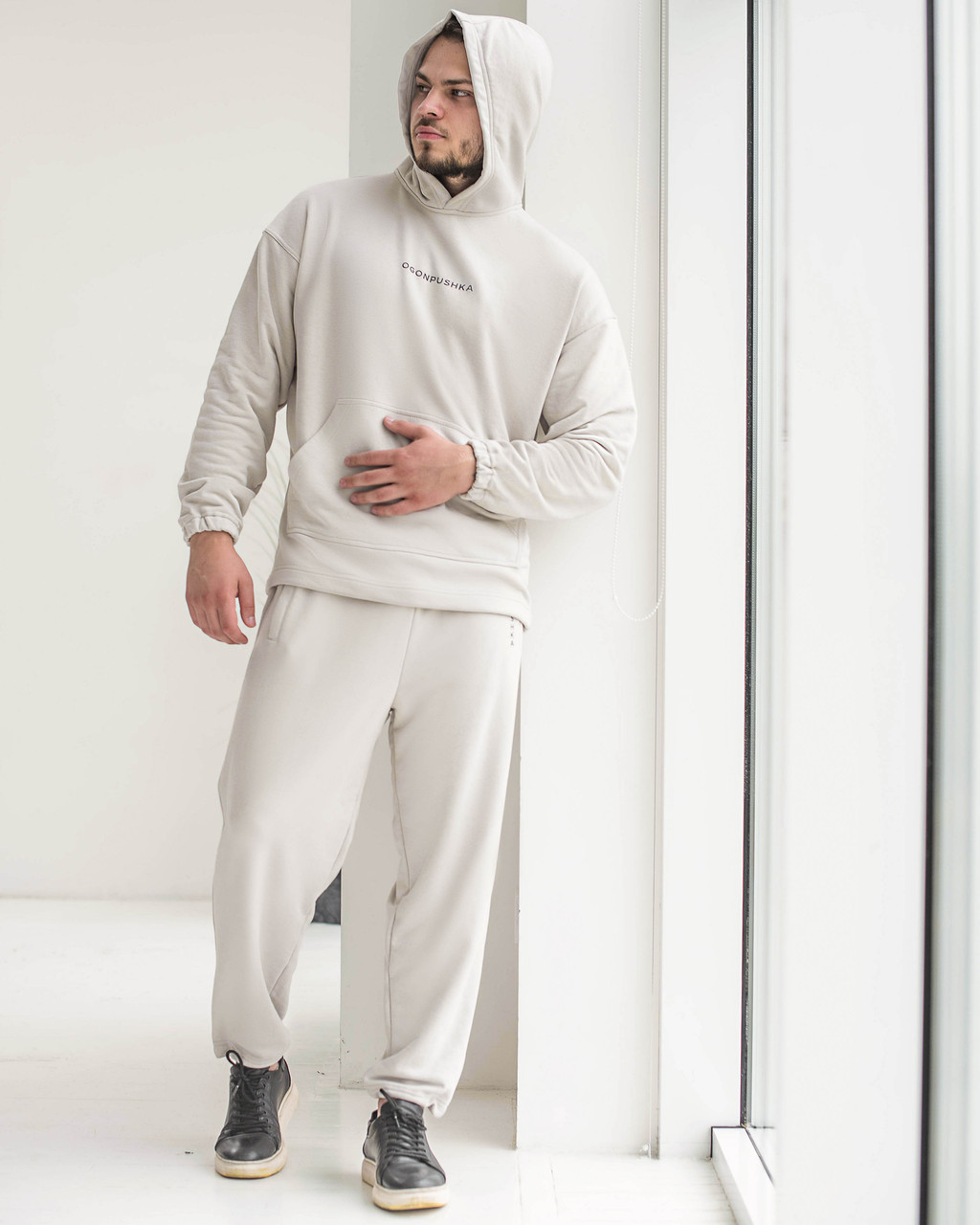 Спортивный костюм оверсайз Пушка Огонь Scale 2.0 бежево-серый