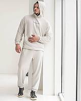 Спортивний костюм оверсайз Огонь Пушка Scale 2.0 бежево-сірий, фото 1