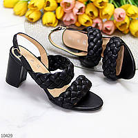 Элегантные фактурные черные женские босоножки на устойчивом каблуке