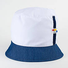 Панама для хлопчика з бавовни розмір 52-54 колір білий + джинс