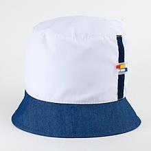 Панама для мальчика из хлопка  размер 48 50 52 цвет белый + джинс