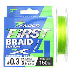 Шнур Intech First Braid x4 Green 150m 1.0 (15lb/ 6.81kg)
