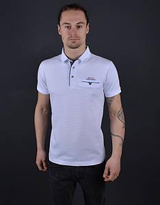 Мужская футболка поло белая Турция 56123