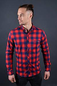 Мужская рубашка красная с синим в клетку Турция 5379
