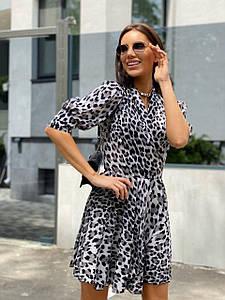 Стильное летнее платье на запах с леопардовым принтом 42-46 р