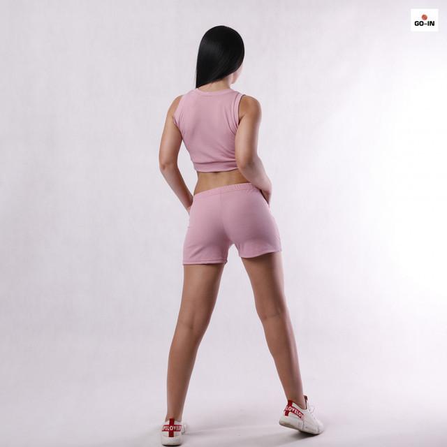 Женский костюм для фитнеса молодежный топ с шортами хлопковая р.426-50