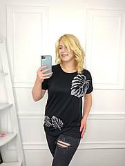 Женская футболка батал, 56-58-60рр, 60-62-64рр, черный, листья