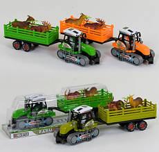 Гусеничний трактор з причепом і тваринами