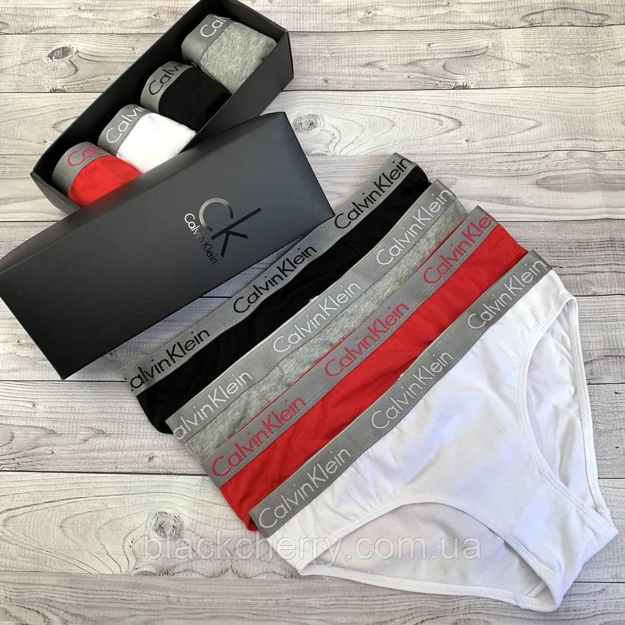 Женские трусики слипы Calvin Klein серая резинка