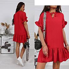 Легкое однотонное летнее платье из штапеля: черное, красное, сиреневое, электрик