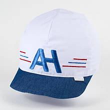 Бейсболка кепка для хлопчика розмір 46-52 см колір білий+джинс