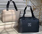 Жіноча сумка стьобана велика сильна міська плащівка, фото 2