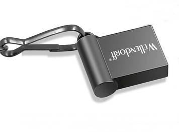 Флешка USB flash drive, 32Gb, Wellendorff, металлическая мини флешка для автомагнитол с брелком, цвет темный