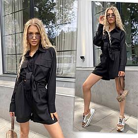 Черный женский льняной костюм с шортами 13-403-3