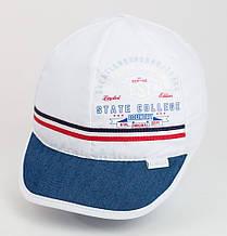Белая кепка для маленьких мальчиков хлопок с синим козырьком 48 см