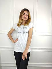 Женская футболка норма, 44-46-48рр, надписи, белый