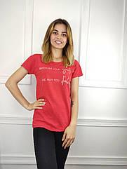 Женская футболка норма, 44-46-48рр, надписи, красный