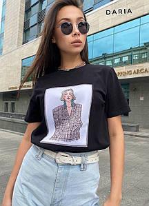 Женская футболка с принтом деловой девушки 42-48 р