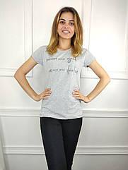 Женская футболка норма, 44-46-48рр, надписи, серый