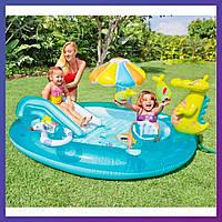 Детский надувной игровой центр с бассейном и горкой Intex 57165 Аллигатор