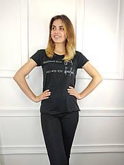 Женская футболка норма, 44-46-48рр, надписи, черный