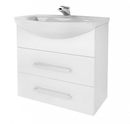 Тумба с раковиной для ванной 65 см в стиле минимализм ВанЛанд ЖЕМЧУГ Жт 2-65 с умывальником OMEGA