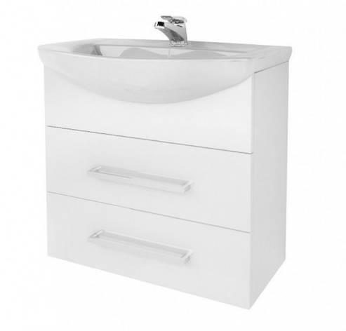 Тумба с раковиной для ванной 65 см в стиле минимализм ВанЛанд ЖЕМЧУГ Жт 2-65 с умывальником OMEGA, фото 2