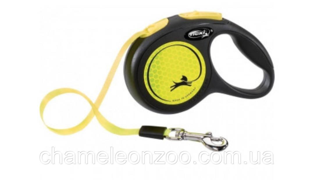 Поводок рулетка Flexi New NEON М 5м до 25кг неоновый желтый 209321