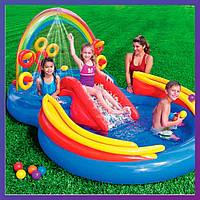 Детский надувной игровой центр с бассейном и горкой Intex 57453 Радуга