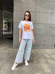 Женская однотонная футболка с рисунком фруктов 42-48 р