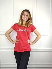 Женская футболка норма, 44-46-48рр, надпись,красный