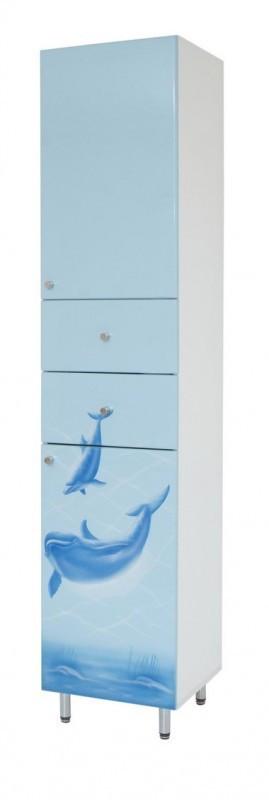 Пенал для ванной 40 см с дельфином ПИК БАЗИС П0340RА ДЕЛЬФИН