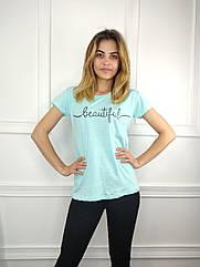 Жіноча футболка норма, 44-46-48рр, напис,м'ята