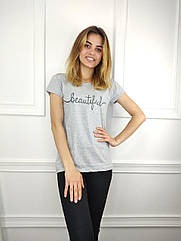 Женская футболка норма, 44-46-48рр, надпись,серый