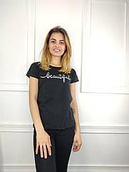 Жіноча футболка норма, 44-46-48рр, напис,чорний