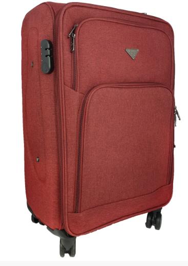 Дорожный чемодан тканевый на четырех колесах красный 70х40х24