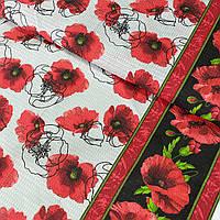 Ткань для полотенец вафельная с маками красными, ш. 50 см