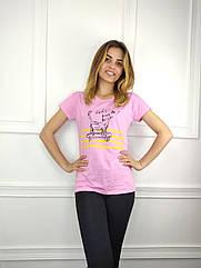 Женская футболка норма, 44-46-48рр, котик,розовый
